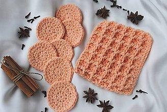 Úžitkový textil - Set háčkovaných odličovacích tampónov a žinky - oranžový - 10720488_