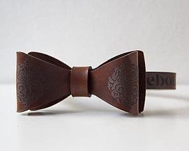 Doplnky - Pánsky motýlik z kože - antique brown - 10722699_