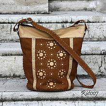 Kabelky - Kožená kabelka Karamel s vanilkou - 10722725_