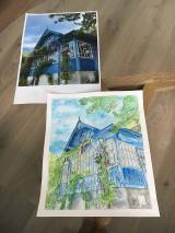 Obrazy - Dom - akvarel original na zelane - 10723316_