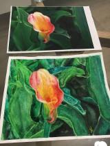Obrazy - Akvarel - kvetinove zatisie na zelanie - 10723494_