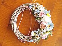 Dekorácie - Veniec pink, tyrkys a ivory s mašlou 27cm - 10722270_