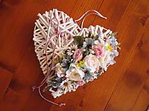 Dekorácie - Srdce pink, tyrkys a ivory s mašlou 30cm - 10722271_