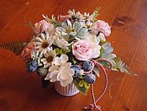 Dekorácie - Dekorácia pink, tyrkys, ivory v keramike s mašlou - 10722284_