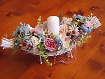 Dekorácie - Dekorácia pink, tyrkys, ivory so sviečkou 41cm - 10722297_