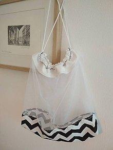 Úžitkový textil - Bez obalu, nákupné vrecko veľké (Čierno-biele) - 10722331_