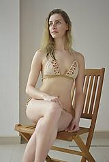 - Výpredaj -Háčkované plavky Natur - 10722348_