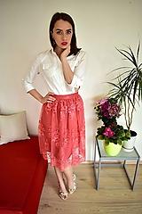 Sukne - Krajková sukně EMILY, lososová - 10726569_