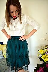Sukne - Krajková sukně EMILY, smaragdově zelená - 10726690_