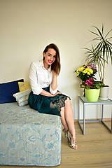 Sukne - Krajková sukně EMILY, smaragdově zelená - 10726691_