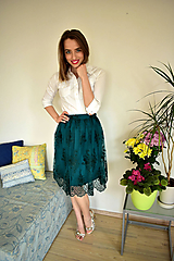 Sukne - Krajková sukně EMILY, smaragdově zelená - 10726692_