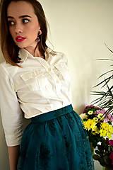 Sukne - Krajková sukně EMILY, smaragdově zelená - 10726694_