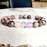 Náramky - Elastic Rhodonite, Jade & Rose Quartz Bracelet / Elastický náramok rodonit, ruženín, jadeit - 10724155_