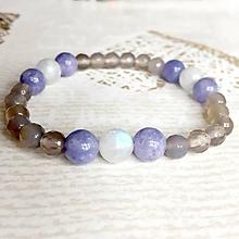 Náramky - Elastic Moonstone, Jade & Agate Bracelet / Elastický náramok mesačný kameň, jadeit, achát - 10724133_