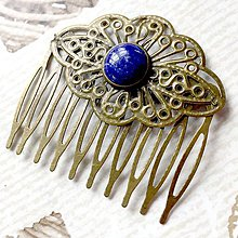 Ozdoby do vlasov - Vintage Lapis Lazuli Hair Comb / Hrebienok do vlasov s lazuritom - 10724925_