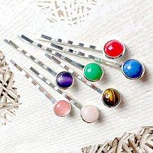 Ozdoby do vlasov - Stone Silver Hairpins / Sponky do vlasov s minerálmi - 10724954_