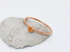 Prstene - 585/14k zlatý prsteň s prírodným oranžovým zafírom (ružové lato) - 10725708_