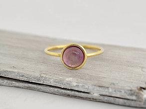 Prstene - 14k zlatý prsteň s prírodným ametystom Nebo - 10726486_