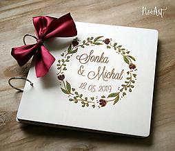 Papiernictvo - Svadobná kniha hostí, drevený fotoalbum - venček6 - 10725249_