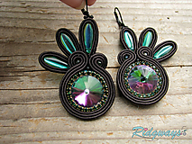 Náušnice - Black/Emerald...soutache - 10724316_