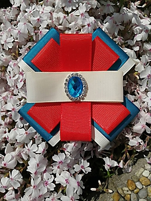 Odznaky/Brošne - Tyrkysovo - červeno - smotanová kráska - 10726516_
