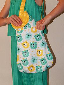 Detské tašky - Bavlnená taška pre deti - mentolový Macko, citrónové uško - 10725576_