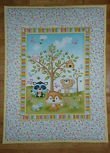 Textil - Detská deka ZVIERATKÁ POD STROMOM (tri varianty) (žlto-modro-ružová) - 10726925_