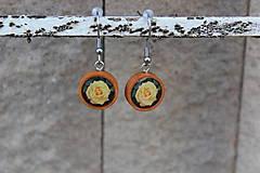 Náušnice - Naušky živicové žlté ruže - 10726163_