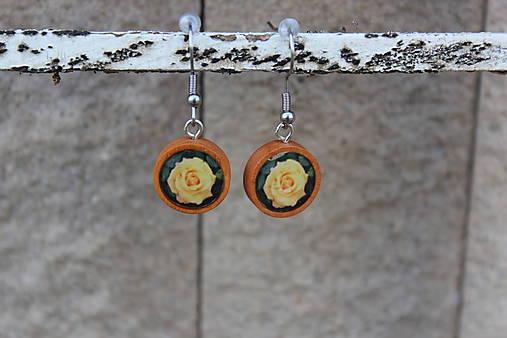 Naušky živicové žlté ruže