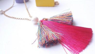 Náhrdelníky - Náhrdelník s perlou rúžový - 10726981_