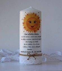 Svietidlá a sviečky - Dekoračná sviečka pre pani učiteľky v škôlke - Slniečková trieda - 10726476_
