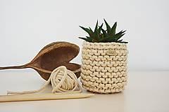 Košíky - Pletený košík/kvetináčik - cappuccino - 10725381_