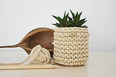 Košíky - Pletený košík/kvetináčik - cappuccino - 10725382_