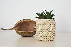 Košíky - Pletený košík/kvetináčik - cappuccino - 10725383_
