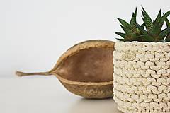 Košíky - Pletený košík/kvetináčik - cappuccino - 10725388_