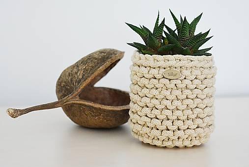 Pletený košík/kvetináčik - cappuccino