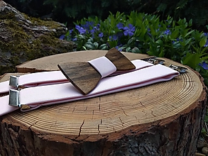 Doplnky - Pánsky set - drevený motýlik a traky - 10725303_