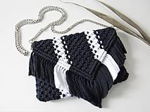Makramé kabelka SANSA (Indigovo-biela)