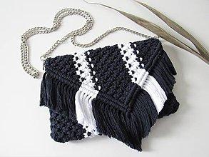 Kabelky - Makramé kabelka SANSA (Indigovo-biela) - 10726547_