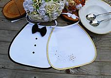 Svadobné podbradníky -zlatý lem