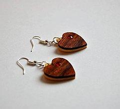 Náušnice - Predané Drevené náušnice - Mahagónové srdiečka - 10725792_