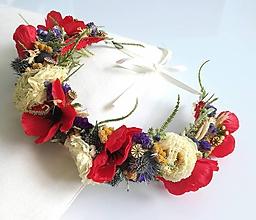Ozdoby do vlasov - Venček zo sušených kvetov divoké maky - 10717785_