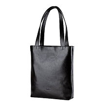 Veľké tašky - Kožená shopper bag taška (Čierna) - 10726114_