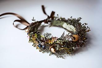 Ozdoby do vlasov - Boho venček pre lesnú vílu s perím - 10726293_
