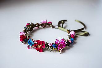 Ozdoby do vlasov - Ružovo modrý kvetinový venček - 10726337_