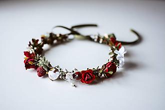 Ozdoby do vlasov - Červený letný kvetinový venček - 10726404_