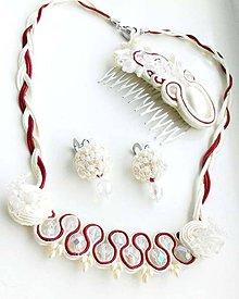 Sady šperkov - Svadobná súprava biela-ivory-bordó - 10725615_