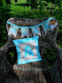Úžitkový textil - ALEX, darčekový set - vankúš a girlanda s menom - 10724069_