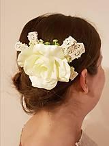 Ozdoby do vlasov - Krása ruže a paličkovej čipky - 10726051_