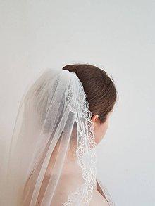 Ozdoby do vlasov - Závoj z jemného tylu ivory a čipkou - 10725227_